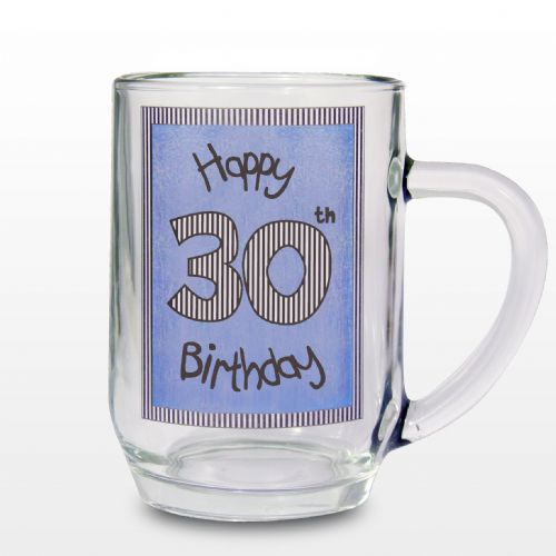 Blue 30th Happy Birthday Tankard keepake - 30th birthday gift idea